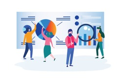 Data Analysis, website analytics, Business, workflow management, office workers are studying the infographic,  People work in a team, Analysts working, Vector illustration, simple tool, teamwork.