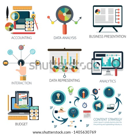 Data analysis with Accounting, Business Presentation, Interaction, Data Representing, Budget and Marketing Strategy