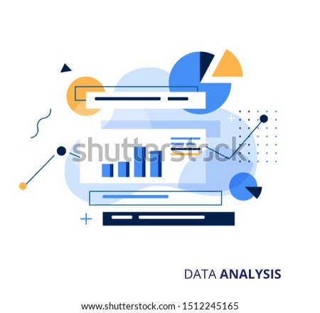 Data Analysys business vector illustration. Information storage, analysis and processing concept.