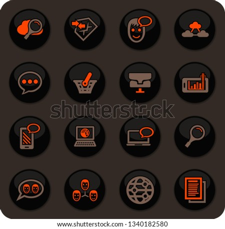 Data analytic and social network color vector icons on dark background for user interface design