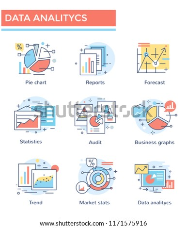 Data analytics and business chart icons, thin line color set, flat design