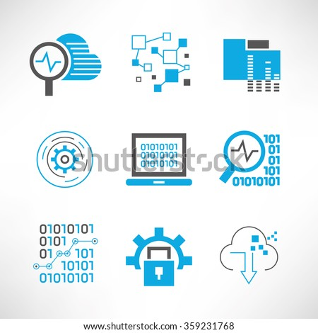 data analytics and network icons set, network analytics, information technology concept