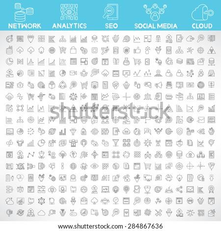 data analytics, big data, network, social media, search engine optimization, cloud computing and internet marketing icons set, thin line design