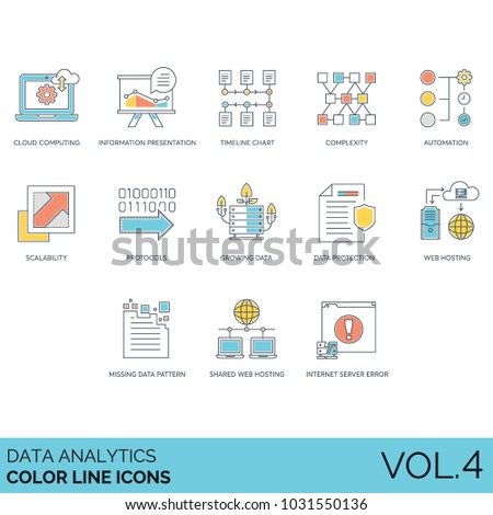 Data analytics color line icons. Cloud computing, information presentation, timeline chart, complexity, automation, scalability, protocol, growth, protection, web hosting, pattern, server error 404.