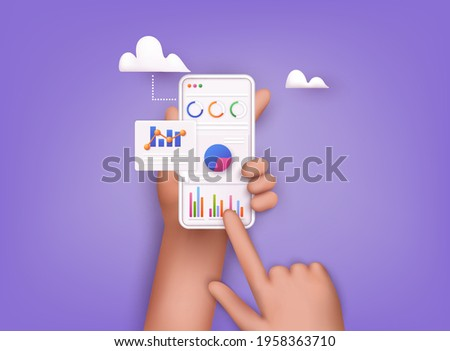 Data analytics, dashboard and business finance report. investment or website SEO screen concept. 3D Web Vector Illustrations.
