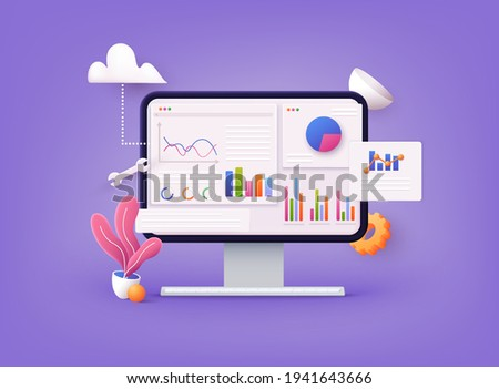 Data analytics, dashboard and business finance report. investment or website SEO screen PC concept. 3D Web Vector Illustrations.