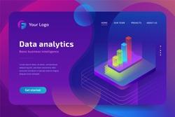 Data analytics isometric composition for website. Vector isometric illustration.