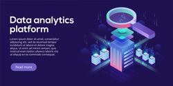 Data analytics platform isometric vector illustration. Abstract hosting server or data center room background. Network or mainframe infrastructure website header layout. Computer storage workstation