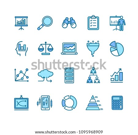 Data Analytics Statistics Signs Color Thin Line Icon Set Include of Diagram and Arrow. Vector illustration of Icons