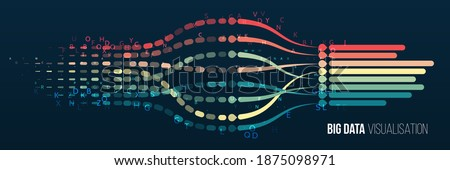 Data array visual concept for website. Big data connection complex. Big data visualization banner. Abstract background with lines array and binary code. Connection structure. Foto stock ©