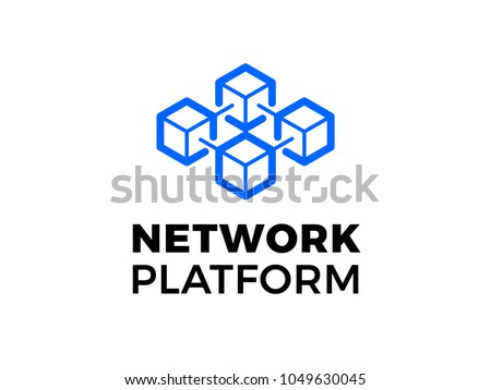 Data base or hosting server company logo. Vector blockchain technology icon for crypto mining bitcoin, ethereum. Block chain network database logo. Data center or hosting company icon