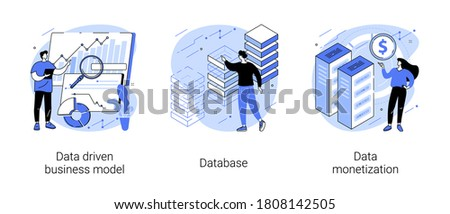 Data business strategy abstract concept vector illustration set. Data driven business model, database, data monetization, decision making, information storage, analysis service abstract metaphor.