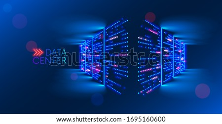 Data center. abstract digital warehouse. Server room of clouds computing technology. Server farm communication with internet. Network connection and information exchange lights glow in the dark.