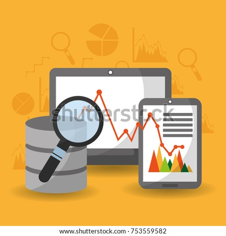 data center analysis research financial diagram network vector illustration