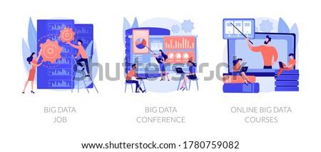 Data center, backup server technician. Information management experts meeting. Big data job, big data conference, online big data courses metaphors. Vector isolated concept metaphor illustrations