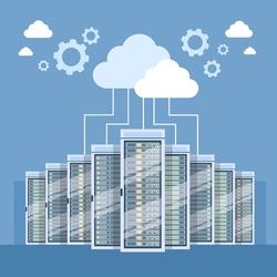 Data Center Cloud Connection Hosting Server Computer Information Database Synchronize Technology Flat Vector Illustration
