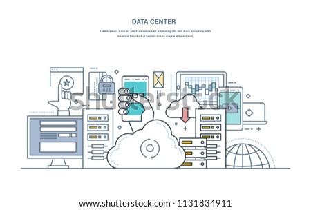 Data center. Cloud storage, secure data storage, web hosting server, database protection on a remote server, modern information technology. Illustration thin line vector doodles.