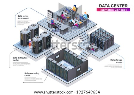 Data center interior isometric concept. Scenes of people characters working in departments: server tech support, storage, distribution or processing centers. Vector flat illustration in 3d design.