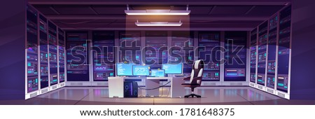 Data center room with server hardware, chair and desk with computer monitors. Vector cartoon interior of information storage office with control panel, racks with hardware for network