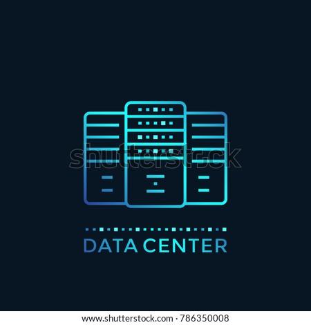 data center, server room, hosting vector illustration