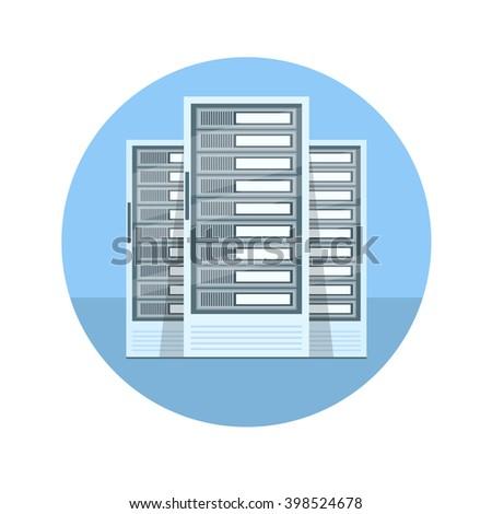 Data Center vector illustration. Data Center diagnostic test. Data Center server computer. Data Center room. Data Center test in room. Data Center being tested in room. Data Center icon