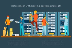 Data center with hosting servers and staff. Computer technology, network and database, internet center, communication security room, vector illustration