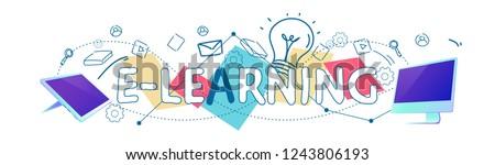 Data cloud storage e-learning online education concept horizontal banner sketch doodle