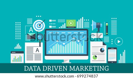 Data-driven marketing, digital marketing insights, data research and analysis flat vector illustration with icons