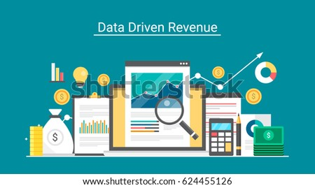 Data-driven revenue, marketing, lead generation, profit, business growth flat design vector concept with icons