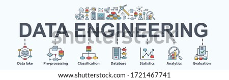 Data engineering banner web icon for business and organization. Data lake, big data, process, classification, database, data analytic and evaluation. Minimal vector infographic.