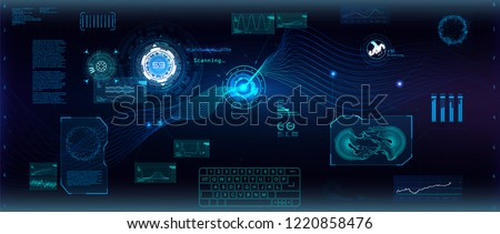 Data flow analysis. Big data algorithms visualization, technologies infographic analytic in HUD style. Futuristic interface. Statistics big data, analytical indicator and biology formuls. Vector Hud