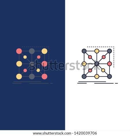 Data, framework, App, cluster, complex Flat Color Icon Vector