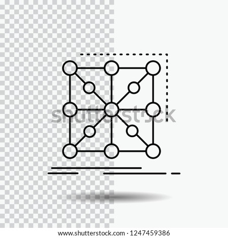 Data, framework, App, cluster, complex Line Icon on Transparent Background. Black Icon Vector Illustration