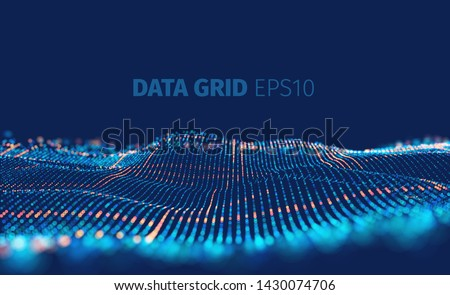 Data grid vector abstract background. Binary code structure