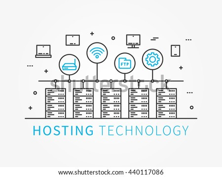 Data Hosting Infrastructure with server system. Analysis infrastructure for server room with devices and icons. Data hosting technology and server infrastructure. Vector illustration, linear concept.