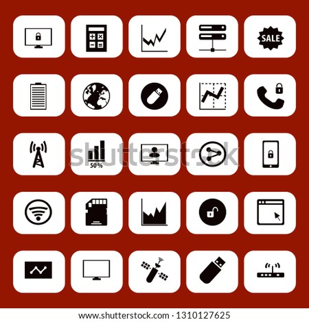 data icon set with share sign, satellite and sale vector illustration