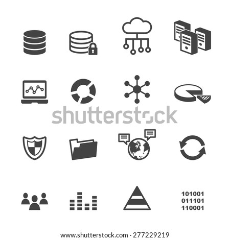 data icons, mono vector symbols