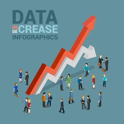 Data increase decrease infographics template concept flat 3d web isometric vector. Businessman and huge red growth white drop line arrows. Creative people collection. Build your infographic.