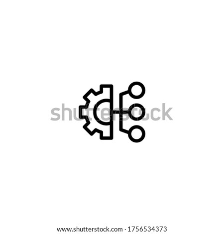 Data Integration icon in black line style icon, style isolated on white background