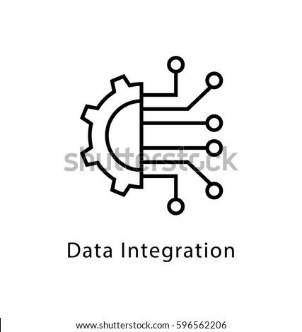 Data Integration Vector Line Icon
