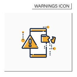 Data loss color icon. Exclamation point on phone. Card destroy. Phone problems. Warnings concept.Isolated vector illustration