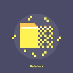 Data loss, software error - isolated flat vector illustration.