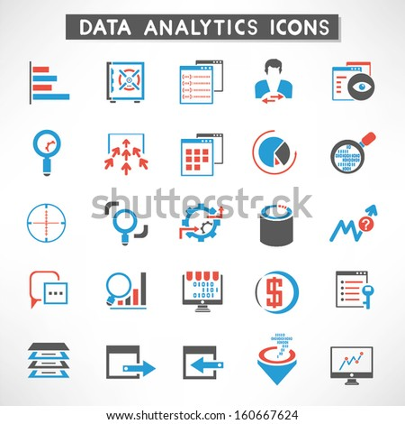 data management, data analytic icons set