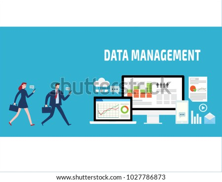 Data management, Data center, Protection, Storage, digital privacy, network server flat vector banner illustration infographics with icons isolated on blue background