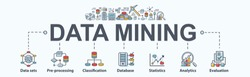 Data mining banner web icon for business and organization. Data set, process, classification, database, data analytic and evaluation. Minimal vector infographic.