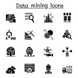Data mining, big data, data warehouse icon set vector illustration graphic design