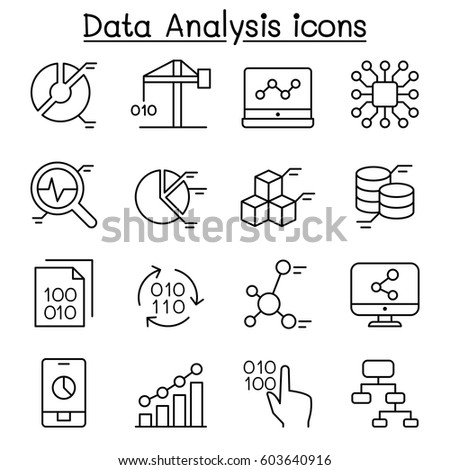 Data mining Technology , Data Transfer , Data warehouse analysis icon set in thin line style