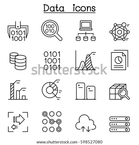 Data mining Technology, Data Transfer, Data warehouse, Big data icon set in thin line style