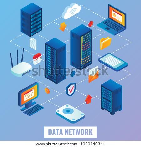 Data network flowchart. Vector flat 3d isometric illustration of network servers, internet router, laptop, mobile phone.