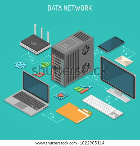 Data Network Isometric business concept with network server, computer, laptop, router and multimedia icons. Storage and transfer data. Vector illustration.